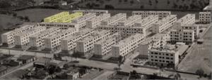 Vista dels habitatges socials i la illeta d'equipaments